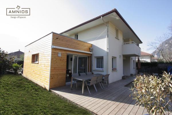 extension - maison - grenoble - st egreve - renovation - architecture - amnios - vue d'ensemble sur l'extension bois de st egreve
