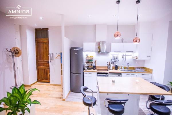 renovation appartement - maitre d'oeuvre - grenoble - amnios - agence architecture - vue d'ensemble sur la cuisine