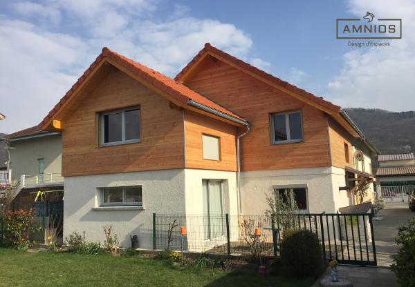 surelevation toit - grenoble - renovation - amnios - maitre d'oeuvre - agence architecture - design - vue exterieure de la maison