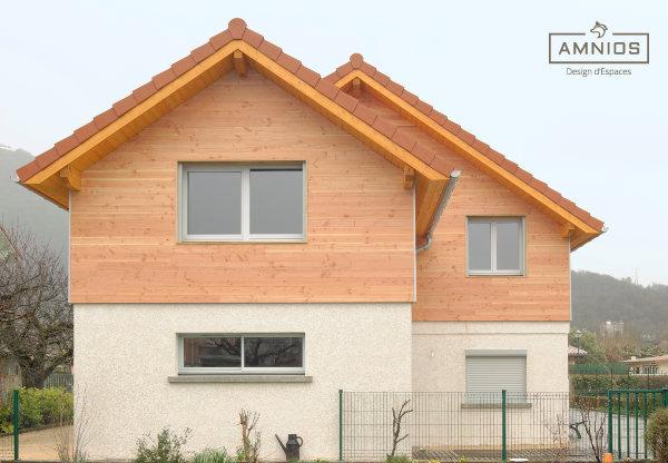 surelevation toit - grenoble - renovation - amnios - maitre d'oeuvre - agence architecture - design - vue de face de la maison