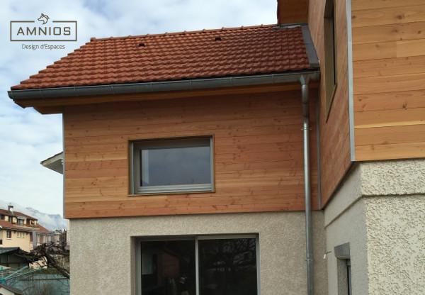 surelevation toit - grenoble - renovation - amnios - maitre d'oeuvre - agence architecture - design - vue de cote de la surelevation de toit