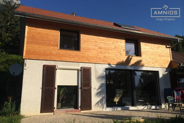 surelevation toit - renovation maison - bois - amnios - grenoble - isere - maitre d'oeuvre - architecture - travaux - design - decoration - vue du jardin