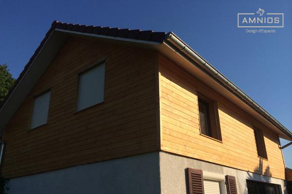 surelevation toit - renovation maison - bois - amnios - grenoble - isere - maitre d'oeuvre - architecture - travaux - design - decoration - toit entre ombre et lumiere