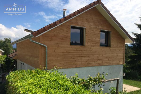 surelevation toit - renovation maison - bois - amnios - grenoble - isere - maitre d'oeuvre - architecture - travaux - design - decoration - surelevation avec fenetres au soleil